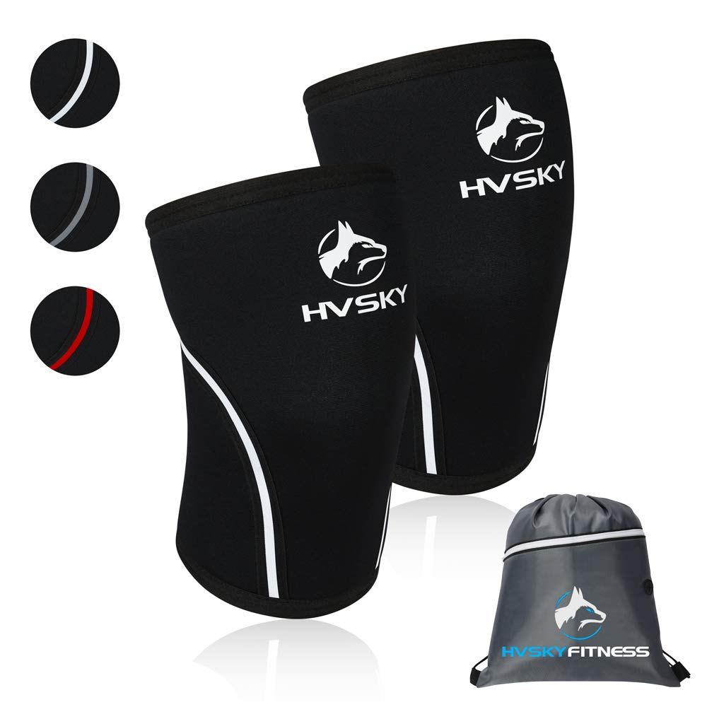 HVSKY Fitness Knee Sleeves for Weightlifting - Compression for Crossfit, Powerlifting, Squats - 7mm Lifting Sleeve Support (1 Pair), for Men & Women (Arctic White, Medium) by HVSKY Fitness