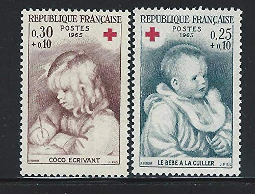 France 1965 Red Cross Renoir Paintings Set of 2 Semi-Postal Postage Stamps, Catalog No B392-93