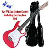 Kay KE17R-CS Student Electric Guitar 7/8 Body with Case- Red