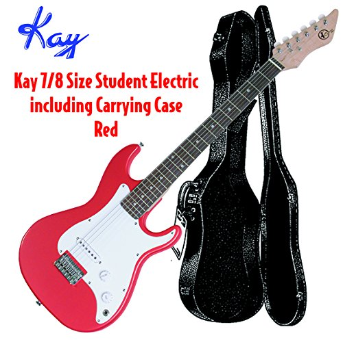 Kay KE17R-CS Student Electric Guitar 7/8 Body with Case- Red by Kay