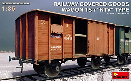 (MiniArt 35288 Railway Covered Goods Wagon 18T NTV Type, WWII Military Miniatures 1/35 Scale Model)