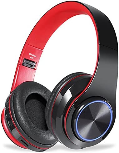 Bluetooth Headphones Over Ear,Viotte Hi-Fi Stereo Wireless Wired Headset,Foldable Comfortable Earmuffs,Built-in Mic,10 Hours Playtime,Compatible with Smartphone,PC,iPhone,Tablets-Black Red