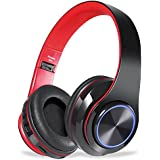 Viotte Bluetooth Headphones Over Ear, Hi-Fi Stereo Wireless/Wired Headset,Foldable Comfortable Earmuffs,Built-in Mic,10 Hours Playtime,Compatible with Smartphone,PC,iPhone,Tablets-Black & Red