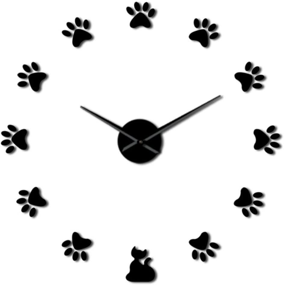 wffmx Pattes De Chat DIY Horloge Murale DIY Mur G/éant Art Home Decor Empreinte De Chat Contemporain Chambre Surdimensionn/ée Horloge Murale Amoureux des Chats Cadeau-27Inch