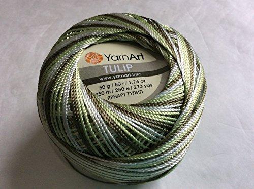 Variegated Khaki Green, Spring Green, White - Yarn Art Tulip Size 10 Microfiber Thread - 50 Gram (White Variegated Tulip)