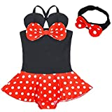 YiZYiF Toddler Girls Cartoon Swimsuit 2 Piece Bathing Suit With Headband 4-5