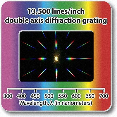 Diffraction Grating Slide-Double Axis 13,500 Lines/in 2x2''-Pack of 10