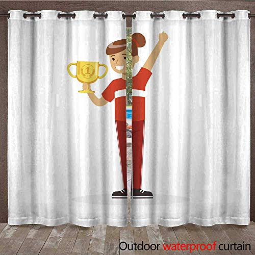 RenteriaDecor Outdoor Balcony Privacy Curtain Happy Athletes Girl in red Sports Uniform Holding Winner Cup Kid Celebrating her Victory Cartoon Vector Illustration W72 x ()