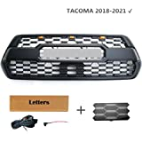 Tacoma TRO PRO Grille Raptor Style with 3 Amber LED Matte Black Fit for Tacoma 2016-2020 (Grille(Amber LED) +TSS)