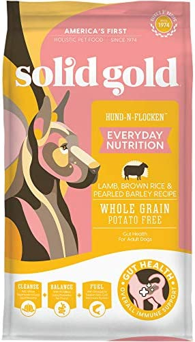 Solid Gold Hund-N-Flocken Natural Adult Dog Food With Real Lamb, Brown Rice And Barley - Holistic Food With Probiotic Support
