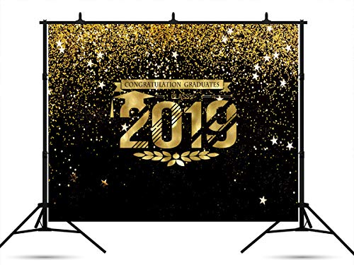7x5ft Black Backdrops Gold Stars Graduation Photography Backdrops Class of 2019 Photo Studio Backdrops Shiny Fabric Holiday Background for Prom Party -