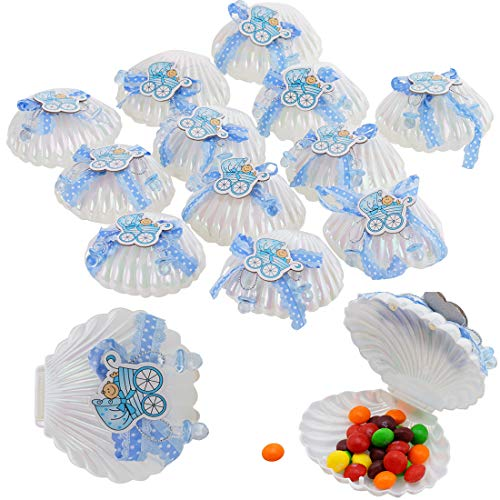 - 12Pcs Candy Bottle Gift Box Baby Shower Favors, Mini Baby Bottle Shower Candy Gifts Box for Boy Girl Newborn Infant Baptism Christening Birthday Party Decoration (Shell)