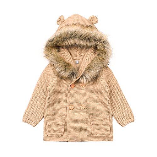 Fur Hoodie Cream (MiMiXiong Baby Boy Cardigan Sweater Cartoon Hoodies Long Sleeve Coats With Fake Fur (6-12M, Brown))