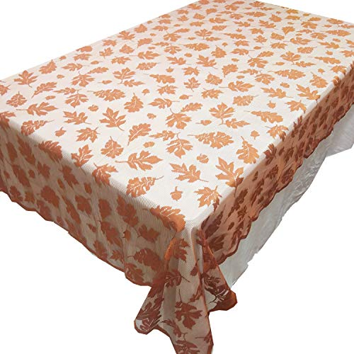 """Thanksgiving Fall Harvest Tablecloth Exquisite Lace Autumn Maple Leaves Table Cover for Thanksgiving Party Decoration (60""""X84"""")"""