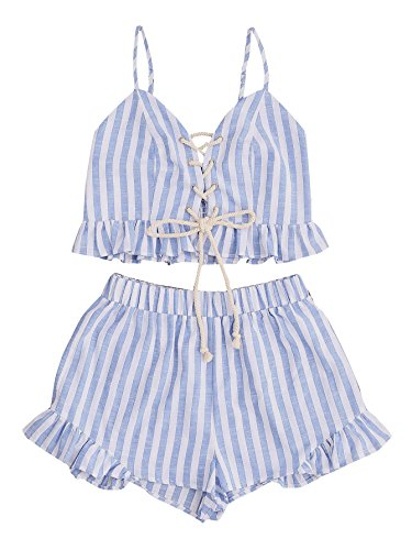 MAKEMECHIC Women's 2 Piece Outfit Summer Striped V Neck Crop Cami Top with Shorts Blue XS
