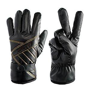 FAMY Winter Warm Gloves Windproof Touchsreen Gloves PU Faux Leather Gloves Driving Long Fleece Lining Black Men and Women (Black)