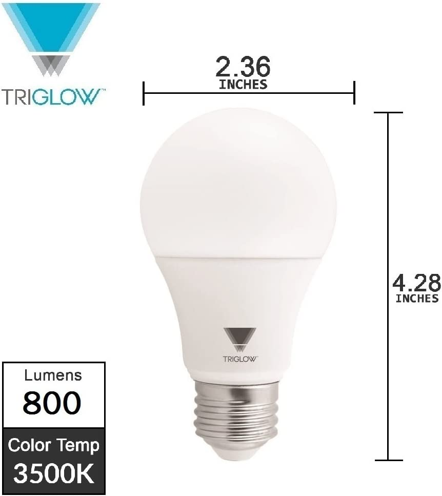 800 Lumen Light Bulb Deco White 3500K Triglow T95134-12 LED A19 Bulb 9-Watt 60W Equivalent 12 Pack