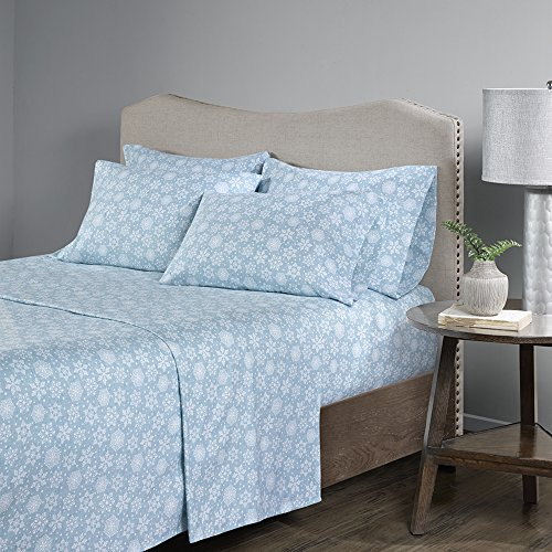 Comfort Spaces - Ultra Soft And Cozy Printed Snowflake 100% Cotton Flannel Sheet Set - 6 Piece - King - Blue - Includes 1 Fitted Sheet, 1 Flat Sheet and 4 Pillow Cases