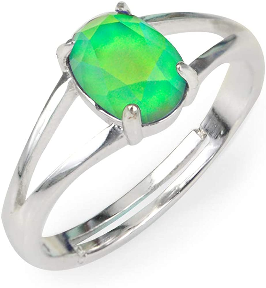Fun Jewels Minimalist Mood Ring in Silver Size Adjustable with Color Changing Facet Oval Crystal Stone