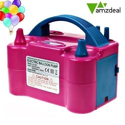 Amzdeal-600w Inflador eléctrico Balón eléctrica bomba de inflado dos boquillas de aire del ventilador