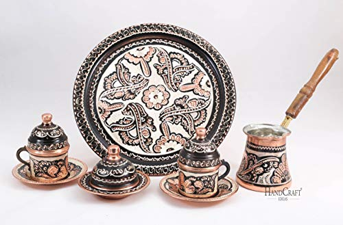 Traditional Design Handmade Copper Turkish Armenian Arabic Greek Coffee Set, Espresso Set, Coffee Cup, Coffee Pot, Tea Set for Two-(CS2-104)