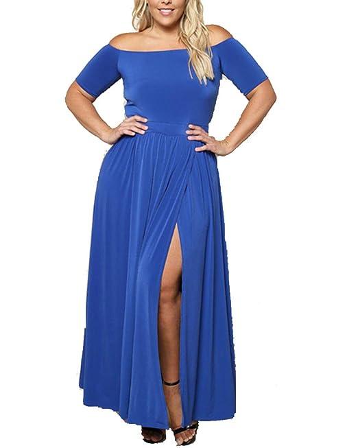 Mujer Vestidos Manga Corta Sin Tirantes Vestido Fiesta Dress Azul XL