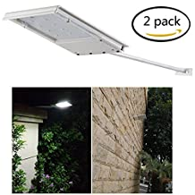 FAMI Waterproof Solar Powered LED Light / Wall Light / Security Night Light / Signage Lighting for Outdoor, Perimeter, Fence, Garden, Deck Posts, Garage, Backyard, Trees, Steps, Barn (2 Pack)