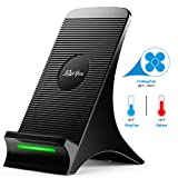 qi note edge - Wireless Charger, KingYue Qi Certified 10W Fast Charging Stand with Fan for S9/S9 Plus/Note 9/8/5/ S8/S8 Plus/S7/S7 Edge, 7.5W Fast Charging Pad for iPhone XS Max/XS/XR/X/8/8 Plus (No AC Adapter)