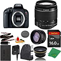 Great Value Bundle for T7I DSLR – 18-55mm STM + 16GB Memory + Wide Angle + Telephoto Lens + Backpack