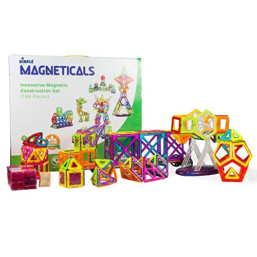 Magneticals Tile Set for Kids (198-Piece Set) Stack, Create and Learn Promote Early Learning, Creativity, Imagination Boys and Girls by Dimple by DimpleChild