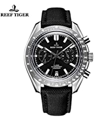 Reef Tiger Sport Watches for Men Chronograph Steel Watches Leather Strap RGA3033 … (OU-0D87-70FE)