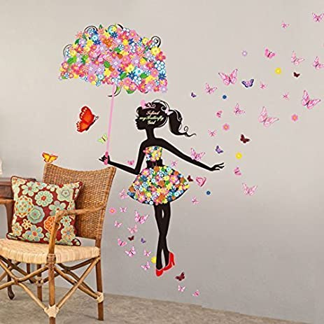 Yufeng vinyl diy wall art sticker lovely flower girl with umbrella butterfly girl 1