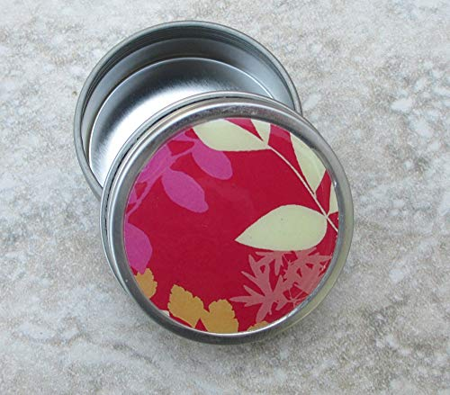 Red Frond design Decorative Tin, Screw top lid, 2oz capacity