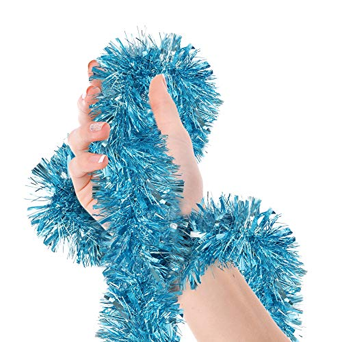 Treasures Gifted Christmas Tree Light Blue Tinsel Garland Metallic Streamers Mermaid Frozen Birthday Celebrate a Holiday Happy New Years Eve Party Indoor and Outdoor Disco Decorations Supplies (Christmas Decorations Tree Turquoise)