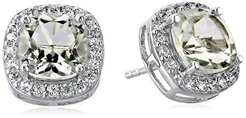 Green Amethyst Stud Earrings (Argent Collection)