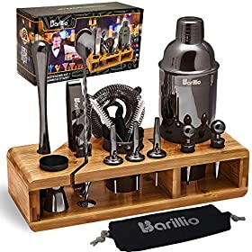 23-Piece Bartender Kit Cocktail Shaker Set by BARILLIO: Stainless Steel Bar Tools With Sleek Bamboo