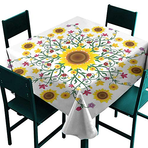 Warm Family Yellow Mandala Elegance Engineered Tablecloth Round Motif with Wild Spring Blooms and Sunflowers Botanical Swirls Corsage Indoor Outdoor Camping Picnic ()