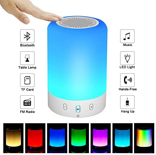 Night Light Bluetooth Speaker, Portable Wireless Bluetooth Speaker, 6 Color LED Themes Bedside Table Light Smart Touch Control Color Changing Stereo Subwoofer, Handsfree Phone MicroSD Supported