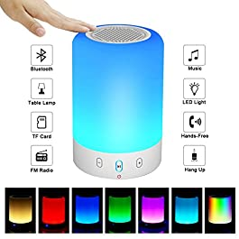 Night Light Bluetooth Speaker, Portable Wireless Bluetooth Speaker, 6 Color LED Themes Bedside Table Light/Smart Touch…