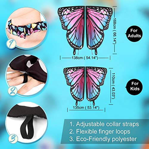 Butterfly Wings for Kids Women Halloween Costume with Mask Cloaks Soft Fabric Shawl Fairy Ladies Nymph Pixie Costume for Girls Dress Up Party Favors Halloween Cosplay Costumes