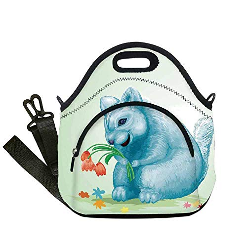 Animal Lightweight Neoprene Lunch Bag,Dear Blue Mouse with Tulip Bouquet Caricature Hamster Chinchilla Mascot Rodent Toy for Kids Nurse Teacher Outdoor,With Pocket(12.6''L x 6.3''W x 12.6''H) - Light Bouquet 20 Tulip