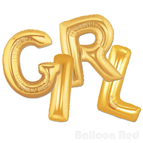 40 Inch Jumbo Helium Foil Mylar Balloons Bouquet (Premium Quality), Matte Gold, Letters GIRL - Fantastic Four Homemade Costumes