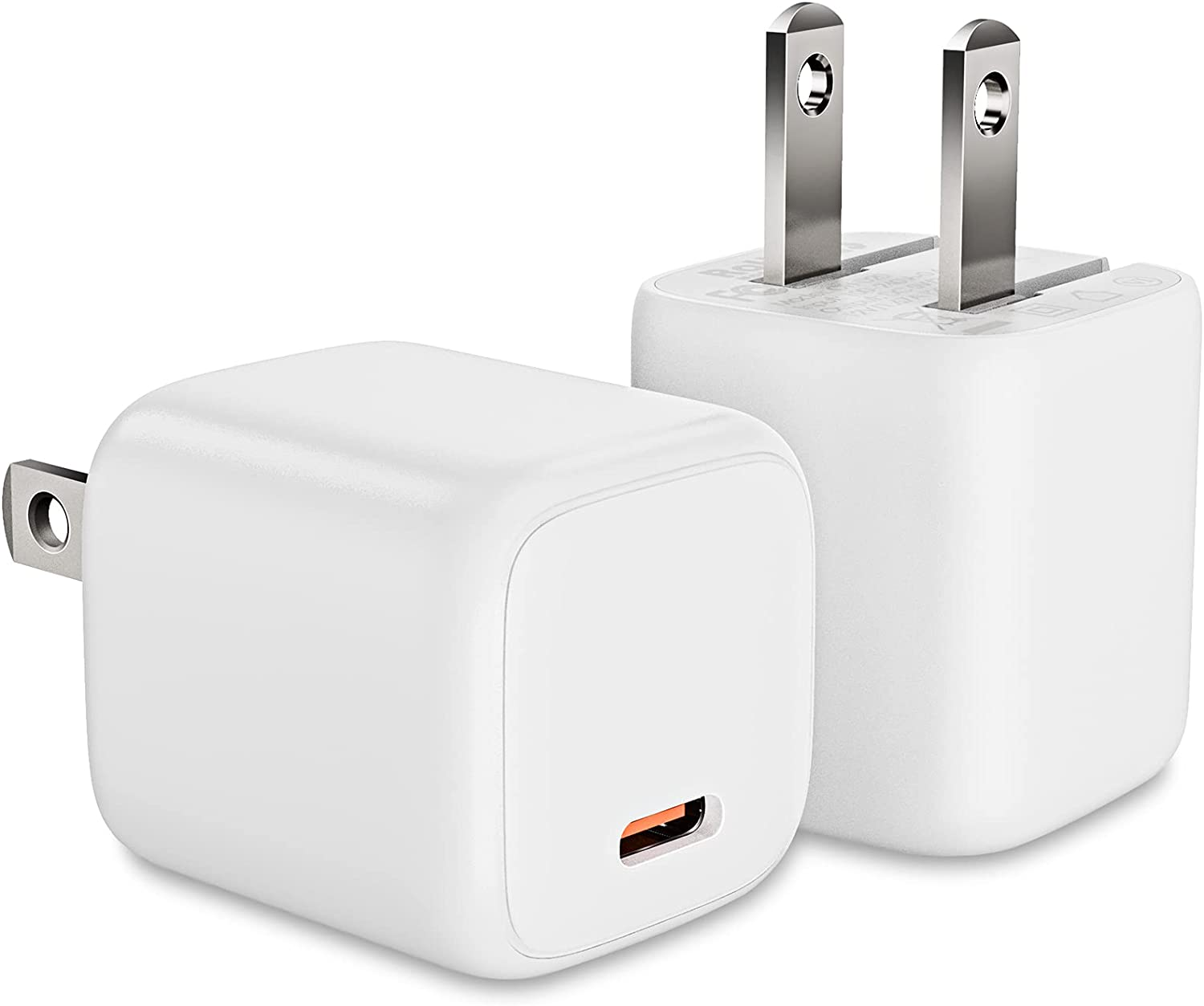 OBOVO 20W 2-Pack Nano USB-C Charger Adapter, PD Fast Charger with Foldable Plug,Ultra Compact for iPhone 12/12 Mini/12Pro/12 Pro Max/11/11Pro/11 Pro Max/Xs/XR/X