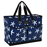 SCOUT BJ Bag, Large Multi Pocket Utility Tote for Beach and Pool, Reinforced Bottom, Water Resistant, Zips Closed, Fish Upon a Star