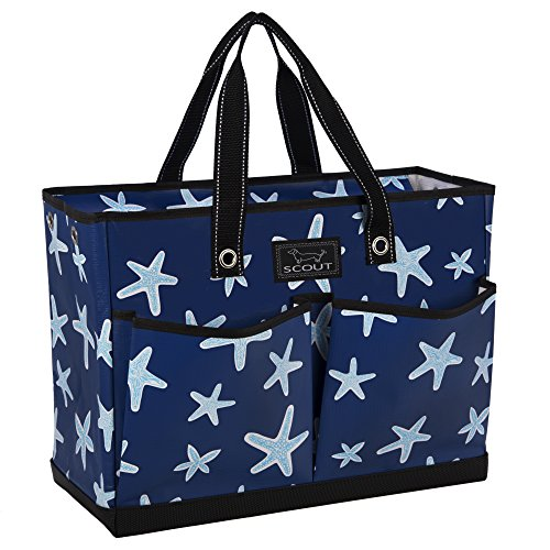 SCOUT BJ Bag, Large Multi Pocket Utility Tote for Beach and Pool, Reinforced Bottom, Water Resistant, Zips Closed, Fish Upon a Star by SCOUT