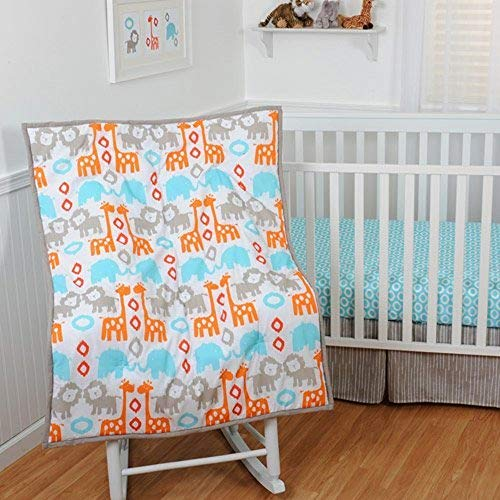(Sumersault Animals 4 Piece Nursery Crib Bedding Set, Turquoise/Orange/Taupe & White/Orange/Turquoise/Taupe/White)