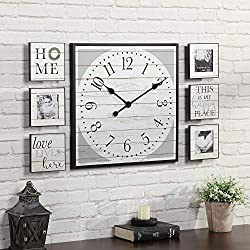 FirsTime & Co. Shiplap Gallery Set Wall Clock, 20, 6 Plaques, Black & White