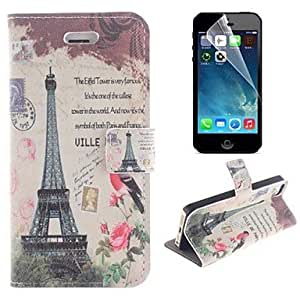 GOG Eiffel Tower and The Birdie Design PU Leather Full Body Cover with Stand and Protective Film for iPhone 5/5S