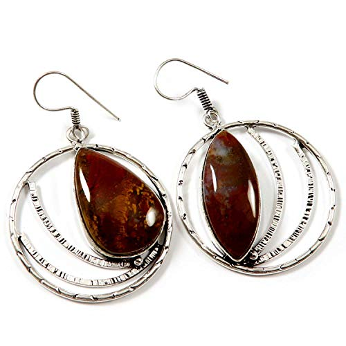 Goyal Crafts Red Moss Agate Dangle Earring Natural Gemstone Silver Plated Jewelry GEH50