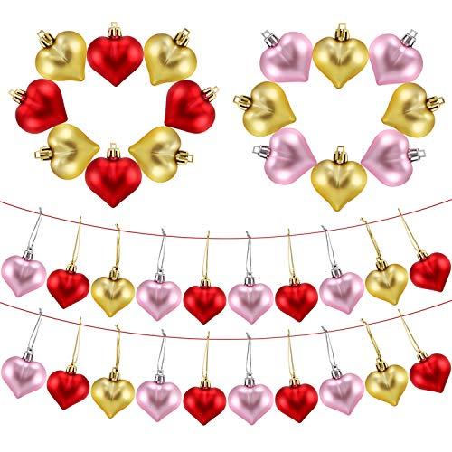 (Frienda Heart Shaped Tree Baubles Glitter Matt Valentine Acrylic Heart Ornaments, 1.77 x 1.96 Inch/ 4.5 x 5 cm (36 Pieces, Red, Pink,)